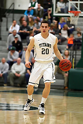 20 February 2016:  Mark Falotico during an NCAA men's division 3 CCIW basketball game between the Elmhurst Bluejays and the Illinois Wesleyan Titans in Shirk Center, Bloomington IL