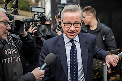 © Licensed to London News Pictures. 12/12/2018. London, UK. Secretary of State for Environment, Food and Rural Affairs Michael Gove arrives on College Green to give interviews. Prime Minister Theresa May faces a vote of no confidence from her own party this evening. Photo credit: Rob Pinney/LNP