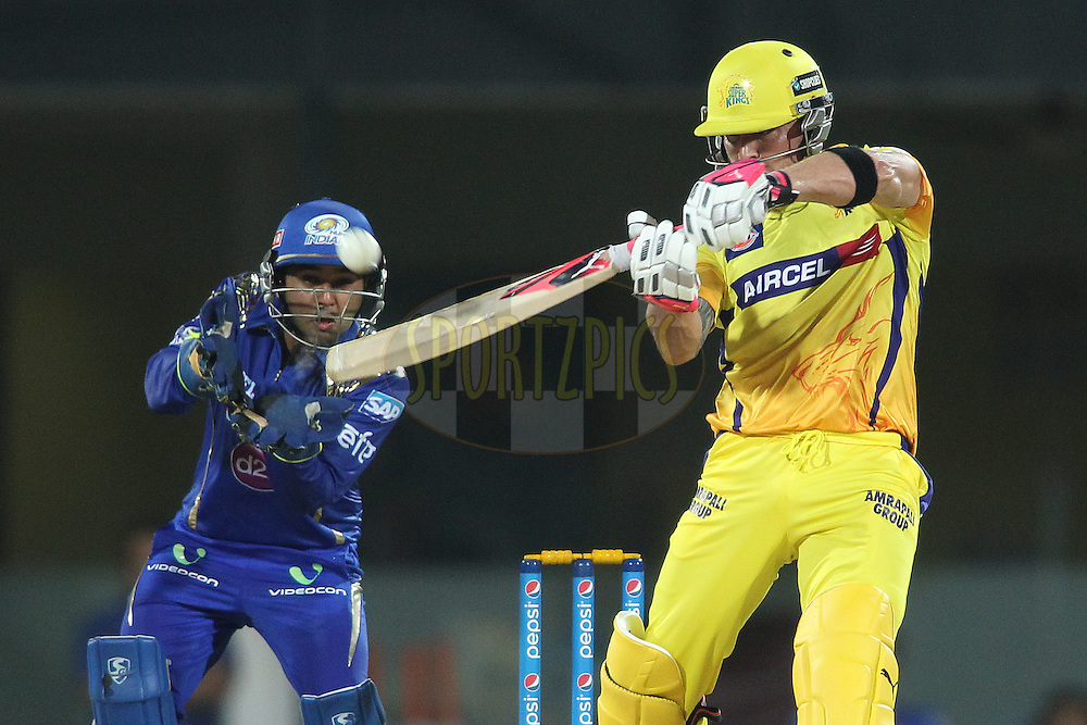 Brendon McCullum of Chennai Super Kings upper cuts a delivery during match 43 of the Pepsi IPL 2015 (Indian Premier League) between The Chennai Super Kings and The Mumbai Indians held at the M. A. Chidambaram Stadium, Chennai Stadium in Chennai, India on the 8th May April 2015.<br /> <br /> Photo by:  Shaun Roy / SPORTZPICS / IPL