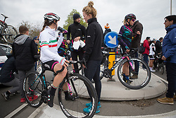 CANYON//SRAM Racing riders cool down after the Amstel Gold Race Ladies Edition - a 121.6 km road race, between  Maastricht and Valkenburg on April 16, 2017, in Limburg, Netherlands.