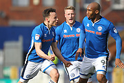 GOAL Ollie Rathbone celebrates scoring for Rochdale 1-1  during the EFL Sky Bet League 1 match between Rochdale and Shrewsbury Town at Spotland, Rochdale, England on 30 March 2018. Picture by Daniel Youngs.