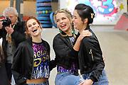 Setbezoek K3 dancestudio Ushuaia in de Ladybird Skatepark, Tilburg.<br /> <br /> op de foto:  K3 - Hanne Verbruggen , Marthe De Pillecyn en Klaasje Meijer