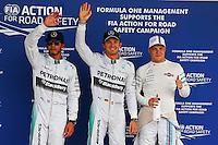 Qualifying top three in parc ferme (L to R): Lewis Hamilton (GBR) Mercedes AMG F1, second; Nico Rosberg (GER) Mercedes AMG F1, pole position; Valtteri Bottas (FIN) Williams, third.<br /> Japanese Grand Prix, Saturday 4th October 2014. Suzuka, Japan.