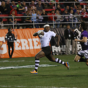 Levani Botia scores the first try in Fiji's 24-0 decimation of Scotland at the first day of action at the USA Sevens, Sam Boyd Stadium, Las Vegas, Nevada.  Photo by Barry Markowitz, Courtesy STP/TriMarine, 1/24/14, 4pm
