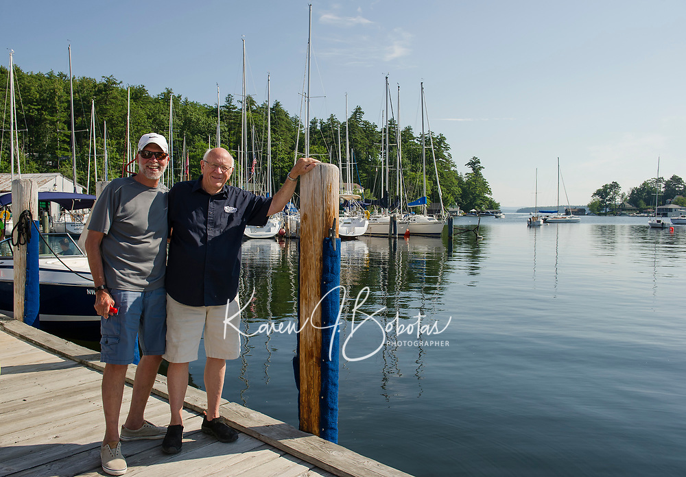 """Ed Heirs pulls up to the gas dock at Fay's Boat Yard and shares memories from 45 years ago when Merrill Fay launched his boating career.  """"He (Merrill Fay) saved me on the water a couple of times back then - a patient man.    (Karen Bobotas/for New England Boating)"""