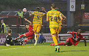 Artur Krysiak saves from Stephane Zubar during the Sky Bet League 2 match between York City and Yeovil Town at Bootham Crescent, York, England on 18 August 2015. Photo by Simon Davies.
