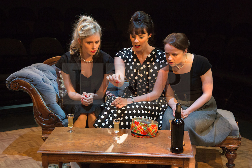 © Licensed to London News Pictures. 02/09/2015. London, UK. L-R: Diana Vickers, Danielle Flett and Vicky Binns. World premiere of Hatched 'n' Dispatched, a black comedy set on one evening in 1959, opens at the Park Theatre in Finsbury Park. Written by Gemma Page & Michael Kirk, directed by Michael Kirk, the comedy stars Wendi Peters, Diana Vickers and Vicky Binns. Running from 1 to 26 September 2016. Photo credit : Bettina Strenske/LNP