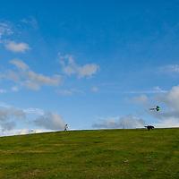 Flying kites at Tinkerton slopes, Whitstable, Kent