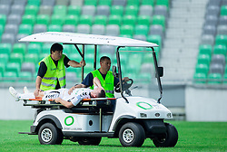 Injured Martin Saban of Krka during football match between NK Olimpija and NK Krka in Round 1 of Prva liga Telekom Slovenije 2014/15, on July 19, 2014 in SRC Stozice, Ljubljana, Slovenia. Photo by Vid Ponikvar / Sportida.com