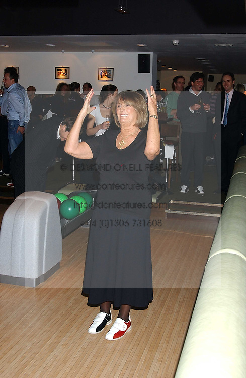 LADY ANNABEL GOLDSMITH at the opening party for a new bowling alley All Star Lanes, at Victoria House, Bloomsbury Place, London on 19th January 2006.<br />