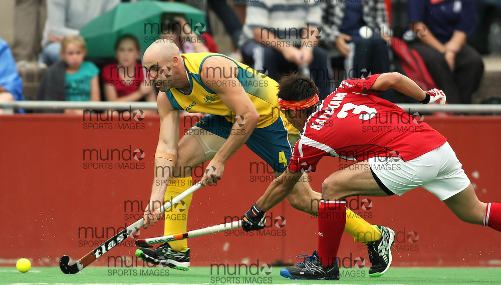 (Canberra, Australia---01 April 2012) Glenn Turner of the Australia Kookaburra national field hockey team during play against Japan in the third of a three game field hockey test series. Australia won the game 7-1 and the series 3-0. Copyright Photograph Sean Burges / Mundo Sport Images, 2012.