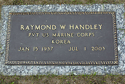 31 August 2017:   Veterans graves in Park Hill Cemetery in eastern McLean County.<br />  <br /> Raymond W Handley Private US Marine Corps  Korea  Jan 15 1937 Jul 1 2003