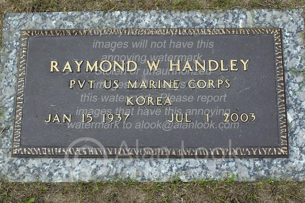 31 August 2017:   Veterans graves in Park Hill Cemetery in eastern McLean County.<br />  <br /> Raymond W Handley Private US Marine Corps  Korea  Jan 15 1937 Jul 1 2003