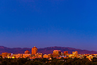 Skyline of downtown Albuquerque (at twilight), New Mexico USA