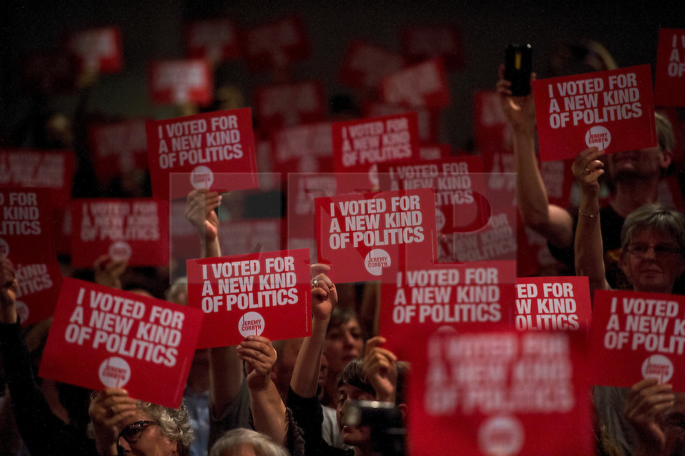 "© Licensed to London News Pictures. 10/09/2015. London, UK. Supporters of Jeremy Corbyn hold up signs reading ""I VOTED FOR A NEW KIND OF POLITICS"" at a Labour Party leadership rally in Islington, north London, attended by Jeremy Corbyn. The winner of the  contest to be the next leader of the opposition is due to be announced on Saturday.  Photo credit: Ben Cawthra/LNP"