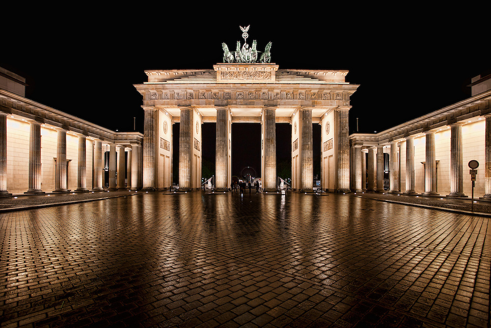 The Brandenburg Gate is a former city gate, rebuilt in the late 18th century as a neoclassical triumphal arch, and now one of the most well-known landmarks of Germany. It was commissioned by King Frederick William II of Prussia as a sign of peace and built by Carl Gotthard Langhans from 1788 to 1791. Having suffered considerable damage in World War II, the Brandenburg Gate was fully restored from 2000 to 2002 by the Stiftung Denkmalschutz Berlin (Berlin Monument Conservation Foundation).