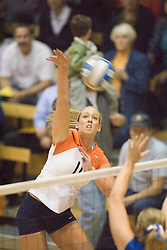 Virginia Cavaliers OH Sarah Kirkwood (10).  The Virginia Cavaliers Volleyball Team fell to the Duke Blue Devils three games to none on November 16, 2006 at Memorial Gymnasium in Charlottesville, VA...