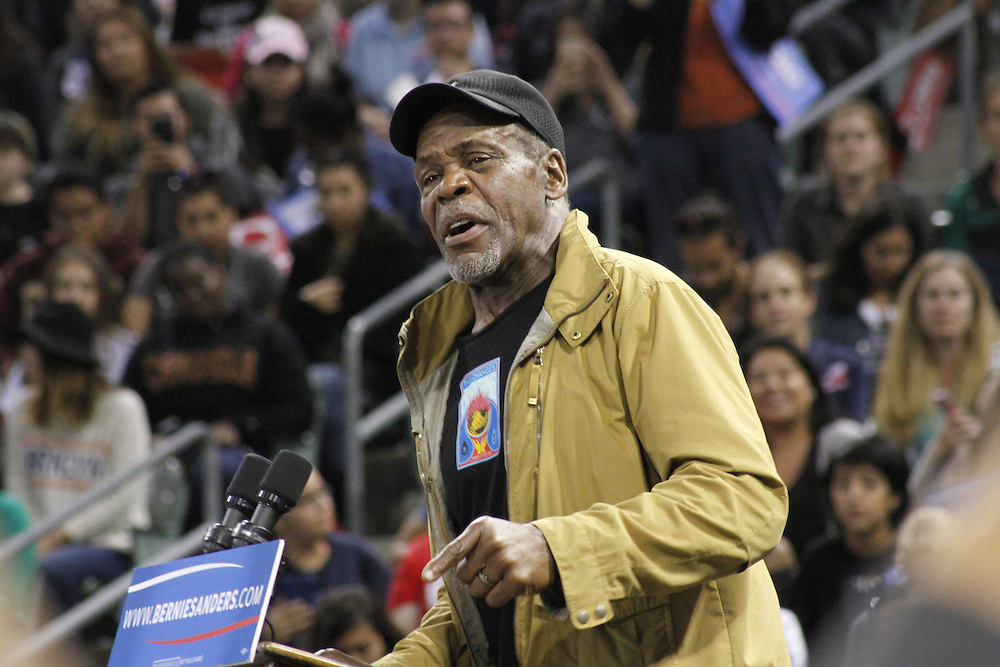 Danny Glover speaking at Senator Bernie Sanders Campaign Rally in Carson, California, May 17, 2016.