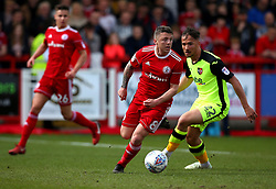 Scott Brown of Accrington Stanley takes on Kane Wilson of Exeter City - Mandatory by-line: Robbie Stephenson/JMP - 14/04/2018 - FOOTBALL - Wham Stadium - Accrington, England - Accrington Stanley v Exeter City - Sky Bet League Two