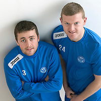St Johnstone defenders Tam Scobbie (left) and Brian Easton pictured at McDiarmid Park after signing contract extensions...13.01.14<br /> Picture by Graeme Hart.<br /> Copyright Perthshire Picture Agency<br /> Tel: 01738 623350  Mobile: 07990 594431