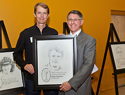 Doug Gardner '85, with President Thomas Krise at the PLU Sports Hall of Fame banquet on Friday, Oct. 3, 2014. (PLU Photo/John Froschauer)