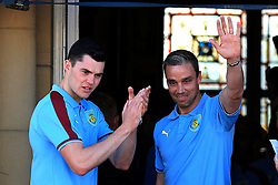 Burnley's Michael Keane and Michael Duff acknowledge the fans - Mandatory by-line: Matt McNulty/JMP - 09/05/2016 - FOOTBALL - Burnley Town Hall - Burnley, England - Burnley FC Championship Trophy Presentation
