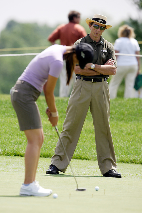 HAVRE DE GRACE, MD, June 7, 2007:   David Leadbetter works with Michelle Wie prior to the LPGA Championship in Havre de Grace, MD on June 7, 2007.