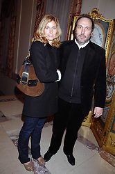 The HON.DAVID MACMILLAN and his wife ARABELLA , she was designer Arabella Pollen at a party to celebrate the publication of The End of Sleep by Rowan Somerville held at the Egyptian Embassy, London on 27th March 2008.<br /><br />NON EXCLUSIVE - WORLD RIGHTS