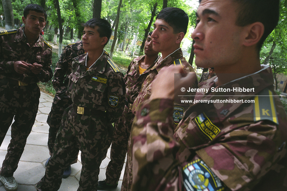 Young army cadets in the Old Silk Road trading route city of Samarkand, Uzbekistan.