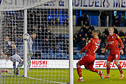GOAL 1-1 Nottingham Forest forward Lewis Grabban (7) sores during the EFL Sky Bet Championship match between Millwall and Nottingham Forest at The Den, London, England on 6 December 2019.