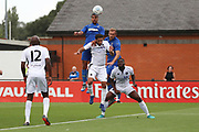AFC Wimbledon striker Kweshi Appiah (9) winning header against Boreham Wood Danny Woodards (2) during the Pre-Season Friendly match between Borehamwood and AFC Wimbledon at Meadow Park, Borehamwood, United Kingdom on 28 July 2018. Picture by Matthew Redman.