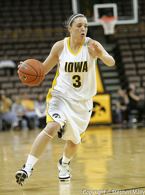 28 NOVEMBER 2007: Iowa guard Abby Emmert (3) in the first half of Georgia Tech's 76-57 win over Iowa in the Big Ten/ACC Challenge at Carver-Hawkeye Arena in Iowa City, Iowa on November 28, 2007.