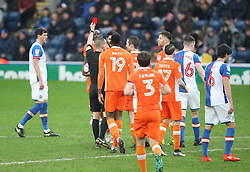 Kelvin Mellor of Blackpool (Hidden) is shown a red card by referee Peter Bankes - Mandatory by-line: Jack Phillips/JMP - 28/01/2017 - FOOTBALL - Ewood Park - Blackburn, England - Blackburn Rovers v Blackpool - FA Cup Fourth Round