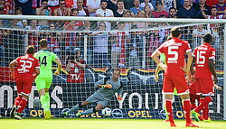 MAINZ, GERMANY - Sunday, August 7, 2016: Liverpool's goalkeeper Alex Manninger is sent the wrong way as FSV Mainz 05 score the opening goal from a penalty kick during a pre-season friendly match at the Opel Arena. (Pic by David Rawcliffe/Propaganda)