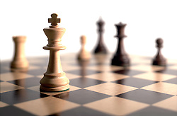 chess pieces on board - white background
