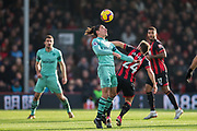 Hector Bellerin (Arsenal) heading the ball away from Ryan Fraser (Bournemouth) during the Premier League match between Bournemouth and Arsenal at the Vitality Stadium, Bournemouth, England on 25 November 2018.