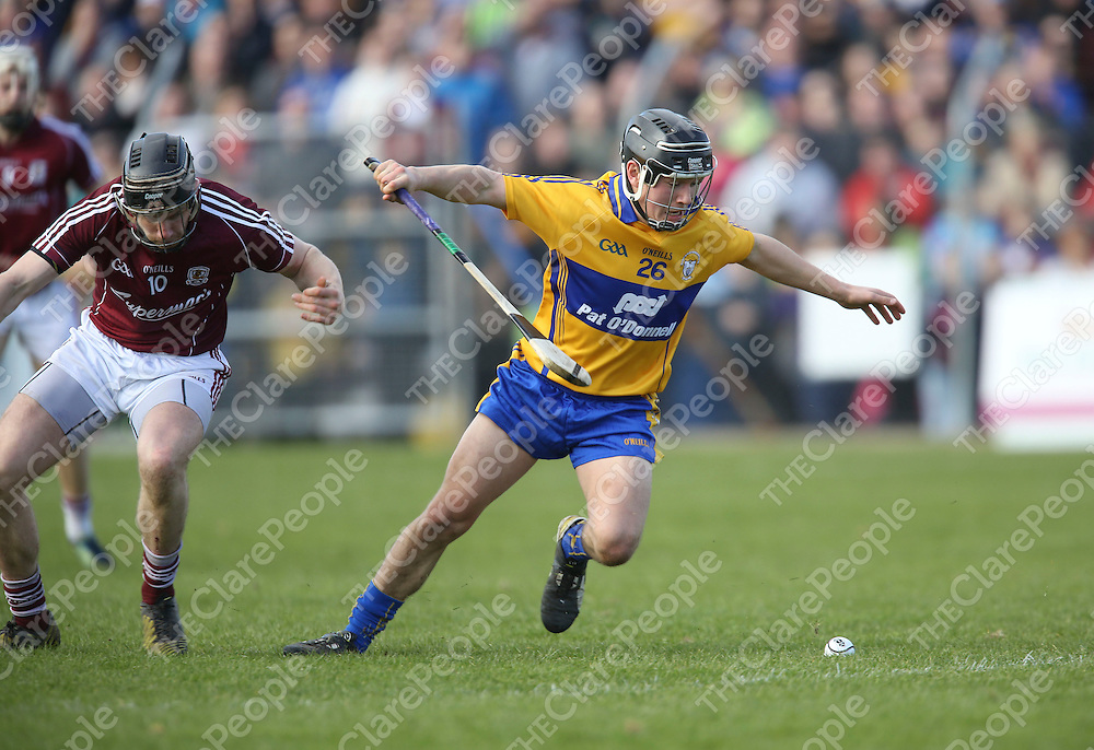 Clare David Reidy &amp; Galway's Aidan harte in action during their NHL Div 1A Game played in Cusack Park Ennis..<br /> Pictured Credit Brian Gavin Press 22