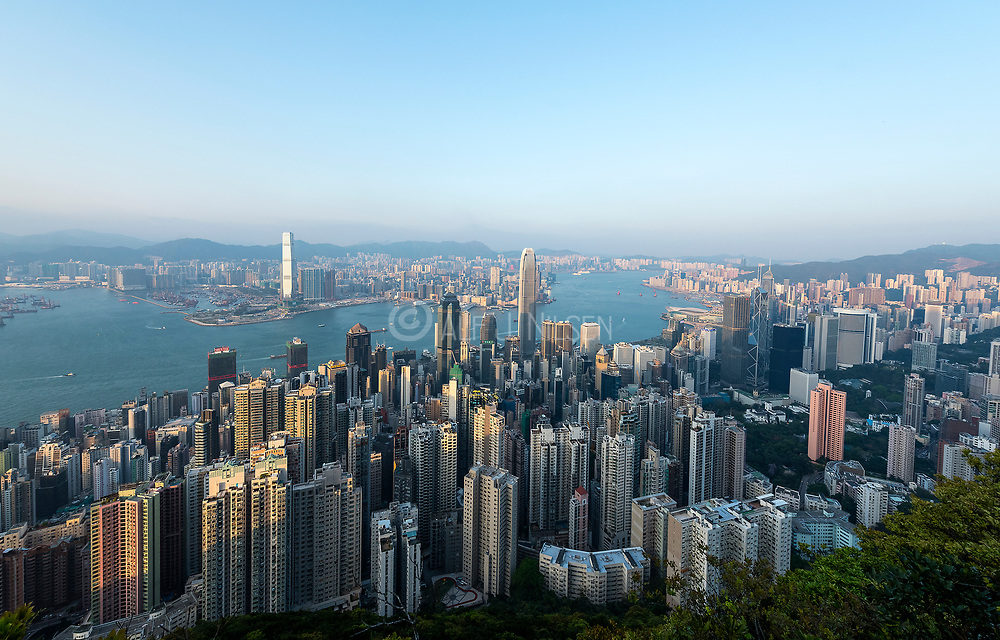 Panoramic View of Victoria Harbour, Hong Kong from Lugard Road (Peak Circle Walk).