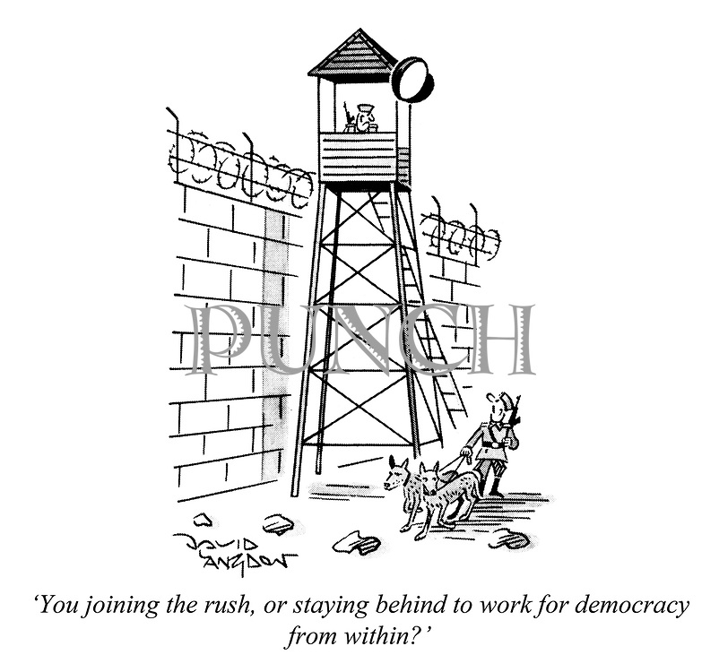 """""""You joining the rush, or staying behind to work for democracy from within?"""""""