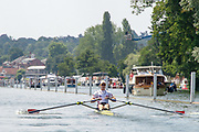 "Henley on Thames, United Kingdom, 3rd July 2018, Sunday,  ""Henley Royal Regatta"", The Diamond Challenge Sculls, Finalist, Kjetil BORCH NOR M1X,progresses along the course,    View, Henley Reach, River Thames, Thames Valley, England, UK."