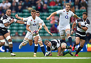 England centre Henry Slade (Exeter Chiefs)breaks past Barbarians lock Brad Thorn (Leicester & New Zealand) with England lock Joe Launchbury (Wasps)in support during the International Rugby Union match England XV -V- Barbarians at Twickenham Stadium, London, Greater London, England on May  31  2015. (Steve Flynn/Image of Sport)