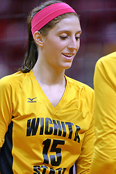 23 October 2010: Amanda Backes during an NCAA, Missouri Valley Conference volleyball match between the Wichita State Shockers and the Illinois State Redbirds at Redbird Arena in Normal Illinois.