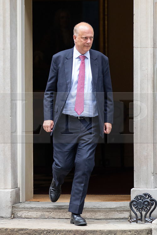 © Licensed to London News Pictures. 04/09/2018. London, UK. Transport Secretary Chris Grayling leaves Downing Street after attending a Cabinet meeting this morning. Photo credit : Tom Nicholson/LNP