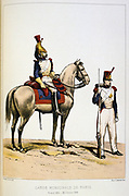 Mounted Municipal guard and Rifleman, 1830-1848. . 'From Histoire des corps de troupes de la ville de Paris' by Francois Cudet, Paris, 1897. Chromolithograph.