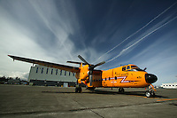 A DeHavilland DHC-5 Buffalo Search and Rescue aircraft remains on constant alert and is able to respond to emergency situations on a moments notice.  CFB Comox, The Comox Valley, Vancouver Island, British Columbia, Canada.