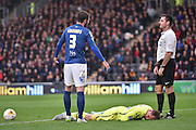 Tomasz Kuszczak of Birmingham city  takes a hit during the Sky Bet Championship match between Hull City and Birmingham City at the KC Stadium, Kingston upon Hull, England on 24 October 2015. Photo by Ian Lyall.