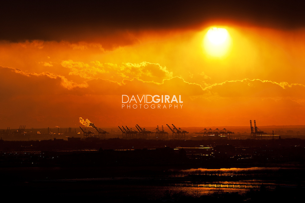 New-Jersey port cranes at sunset, NYC, USA