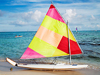 sailing boat on the beach of the maya rivera in yucatan mexico