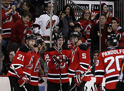 Jan 29, 2010; Newark, NJ, USA; New Jersey Devils right wing Patrick Davis (14) celebrates his first NHL goal during the second period of their game against the Toronto Maple Leafs at the Prudential Center.
