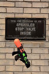 UK ENGLAND LONDON 5SEP13 - Sprinkler valve signage and a water gun at Nine Elms Lane, Vauxhall, central London.<br /> <br /> jre/Photo by Jiri Rezac<br /> <br /> &copy; Jiri Rezac 2013